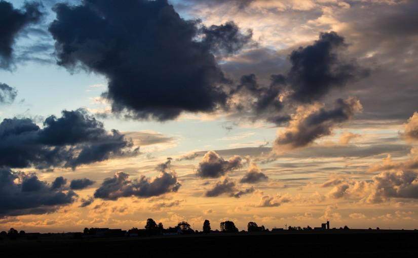 Dark clouds at sunrise